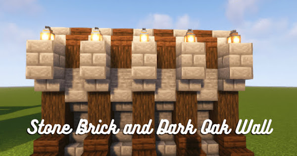 Stone Brick and Dark Oak Fence Wall