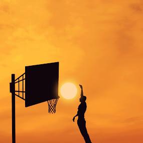 BasketSun by Adrian  Limani - People Fine Art ( basketball, sunset, silhouette, basket, sun, jump )