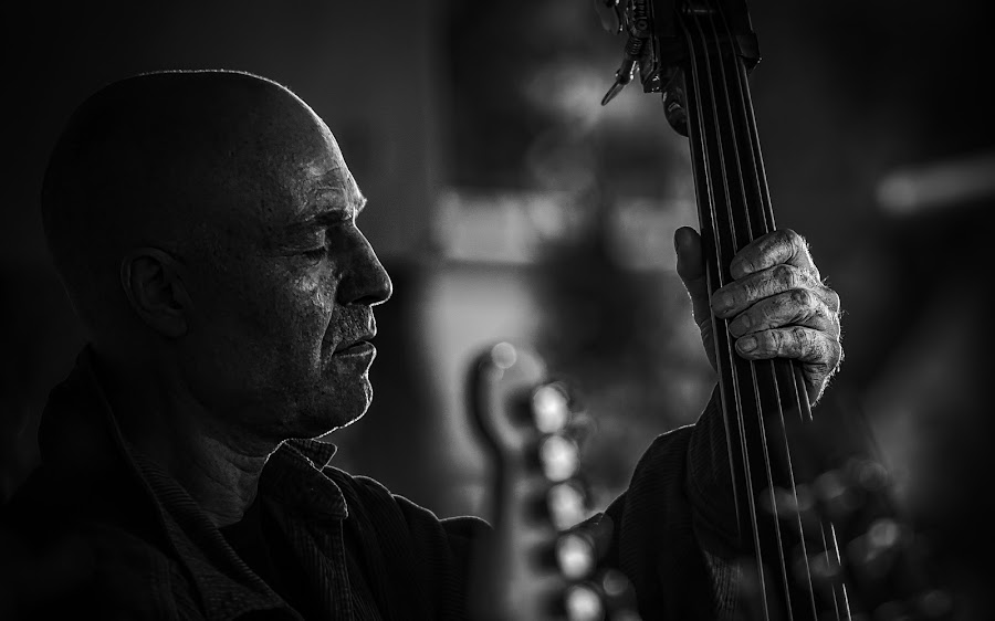 Feeling the Music - B&W by Garry Dosa - Black & White Portraits & People ( concert, musicians, person, b&w, black and white, singers, black & white, bassist, people, entertainment )