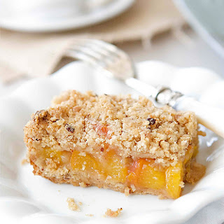 Peach Crumb Bars with Hazelnut Streusel