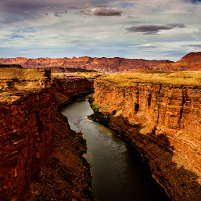 Cut by a River by Eugene Linzy - Landscapes Deserts ( water, mesas, mountain, desert, gorge, river )