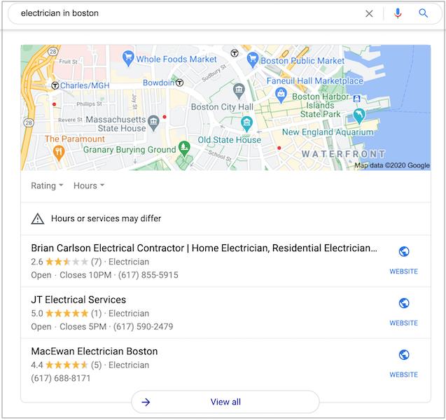 Gói 3 Google địa phương hiển thị kết quả tìm kiếm địa phương từ Google Doanh nghiệp của tôi.