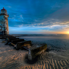 Talacre Rise by Peter Rollings - Landscapes Sunsets & Sunrises ( sunrise, beach, lighthose, clouds, sun, landscape,  )