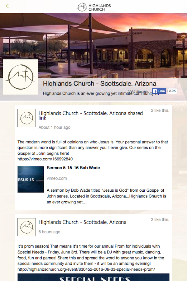 Highlands Church AZ- screenshot