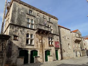 Photo: The 16th century Gabrielli's palace is now the town museum.  Centuries ago the green doors were where items were sold.  The owners lived on the 2nd floor, the servants on the 3rd, and the kitchen was on the top floor.