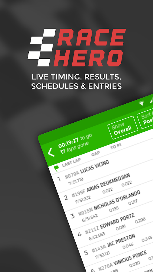RaceHero Live Timing & Results- screenshot
