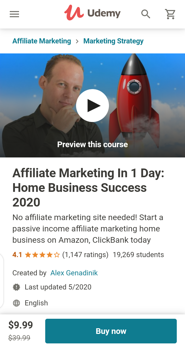 a screenshot of affiliate marketing for beginners on udemy.