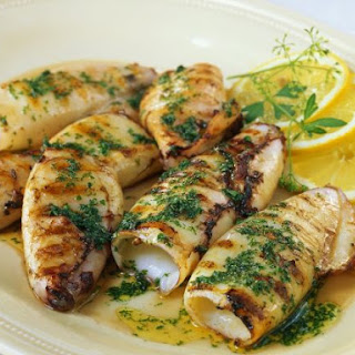 Grilled Squid Tubes.