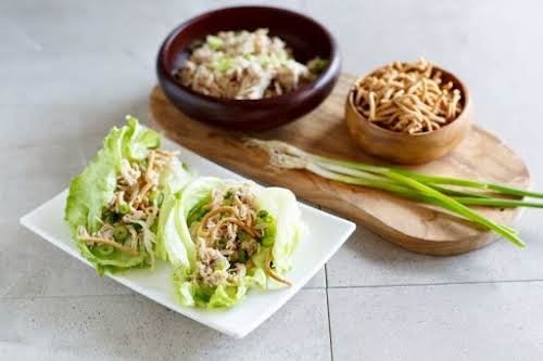 """Amazing & Easy Crock Pot Chicken Lettuce Wraps""""This is my easy dump..."""