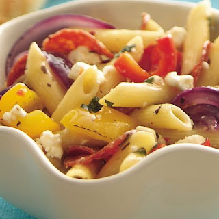 Roasted Sweet Pepper Pasta Salad with Herbs and Feta.