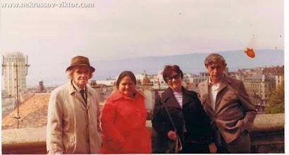Photo: Николай Ульянов (дядя ВПН), Дина Верни, Галина и Виктор Некрасовы, Лозанна, сентябрь 1974