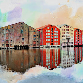 by Bente Agerup - Buildings & Architecture Public & Historical ( water, reflection, trondheim, historic, river, city )