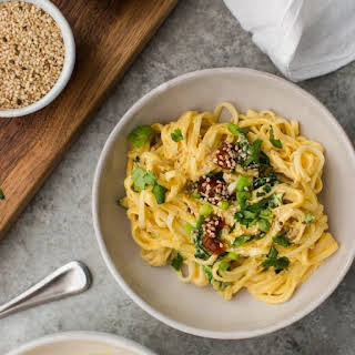 Tahini Butternut Squash Noodle Bowl with Spinach.
