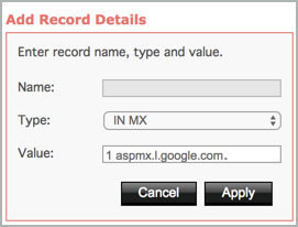 The MX record details are completed