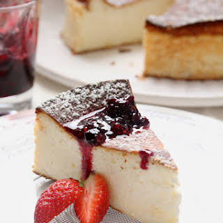 Lemon Cheesecake with Berry Caramel Sauce.