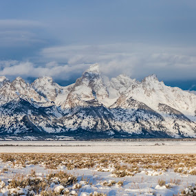 Tetons in January by Nathan Robertson - Landscapes Mountains & Hills ( clouds, mountains, snow, morning, tetons )