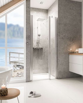 Porte de douche pivotante sur paroi fixe, jusqu'à 160 cm