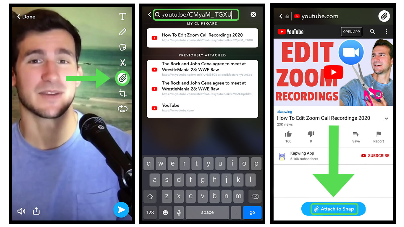 A set of screenshots showing how to attach YouTube links to Snapchat videos.