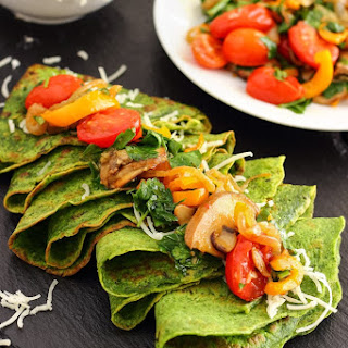 Spinach Crepes with Pan-Roasted Vegetables.