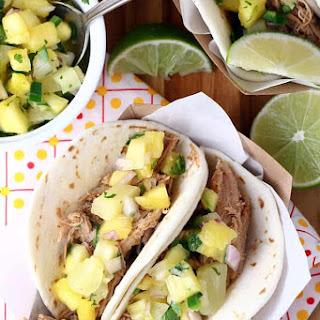Slow Cooker Caribbean Jerk Pulled Pork Tacos.