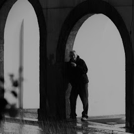 Rain by VAM Photography - Black & White Street & Candid ( rain, b&w, places, weather, prague, man, people )