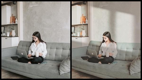 um antes e depois usando AirBrush com uma modelo branca do cabelo preto liso em cima de um sofá, mexendo num computador