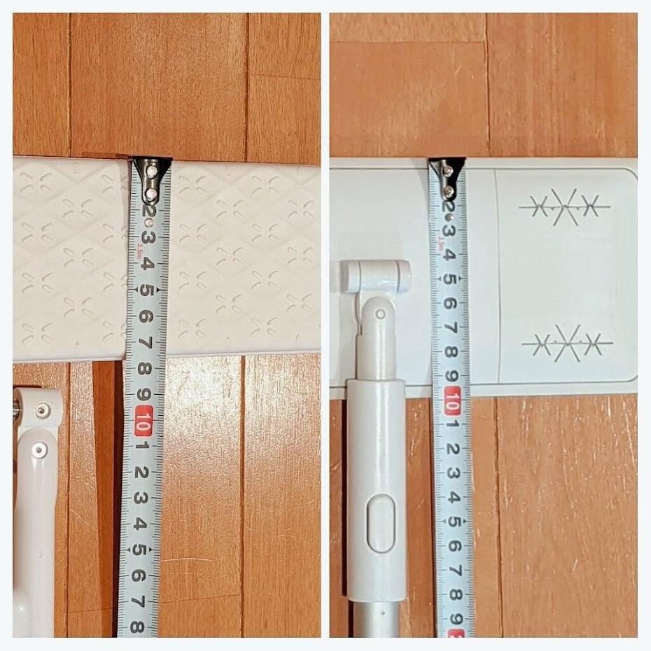 2種類のヘッドの縦幅をメジャーで測った図。左がウェーブ、右が無印