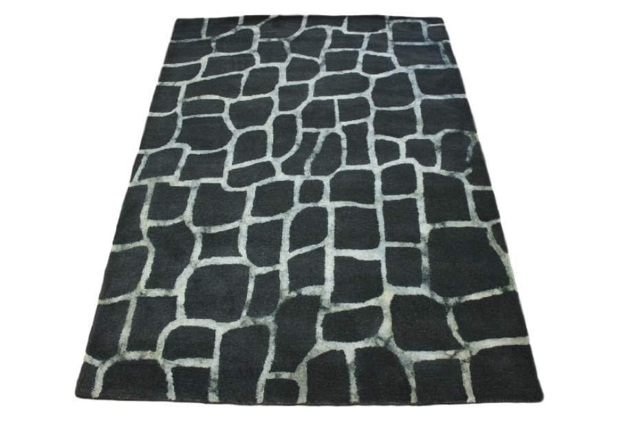100% wełnany dywan z Indii ręcznie taftowany grafitowy 160x230cm