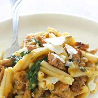 Pasta with Butternut Sauce, Spicy Sausage and Baby Spinach Recipe