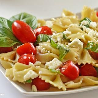 Feta, Basil, Tomato and Bowtie Pasta Salad.