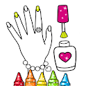 Glitter Nail Drawing Book and Coloring Game icon