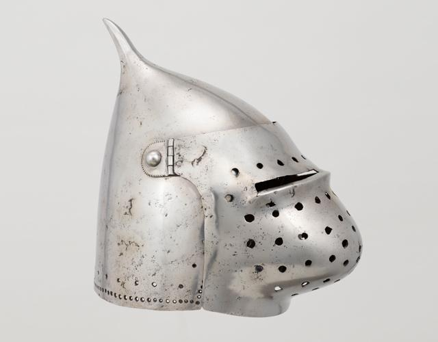 Italian top-pointed bascinet Mousehelm with pigface visor 1390-1420