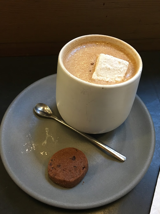 The house hot chocolate ($5.75), with a small chocolate cookie and a homemade marshmallow.