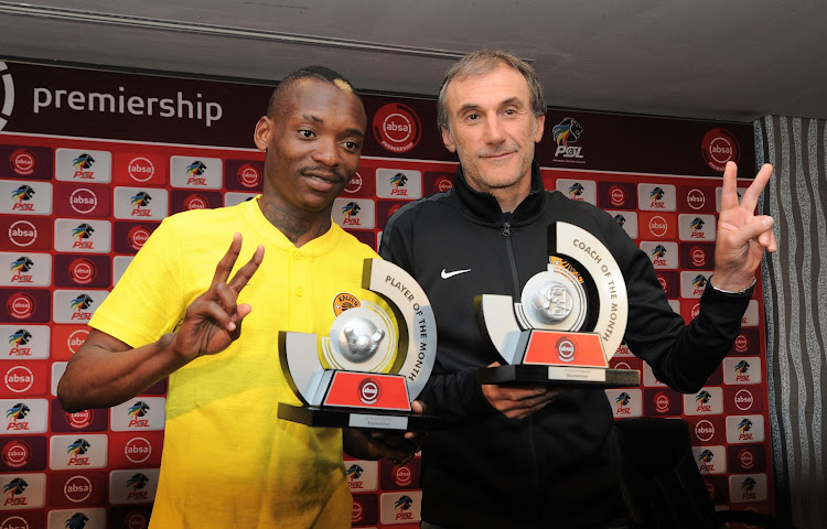Khama Billiat and Giovanni Solinas,of Kaizer Chiefs during the Absa Premiership 2018/19 Coach and Player of the Month for September Announcement at the PSL Offices, Johannesburg on 04 October 2018.