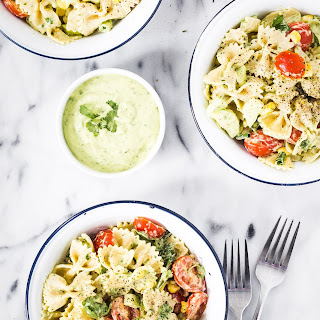 Pasta Salad With Yogurt Cilantro Avocado Dressing.