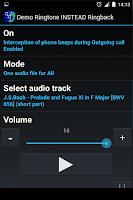 Screenshot of Demo Ringtone INSTEAD Ringback