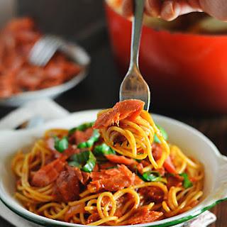 Spaghetti with Smoked Paprika Marinara and Salmon.