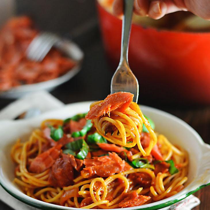 Spaghetti with Smoked Paprika Marinara and Salmon