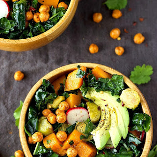 Roasted Brussels and Butternut Squash Kale Salad Recipe
