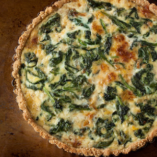 Caramelized Onion, Spinach, and Gruyere Tart with a Cornmeal-Millet Crust