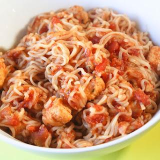 Spicy Vegetarian Chicken Noodles.