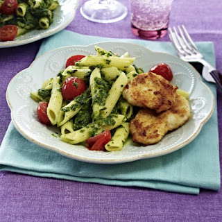 Chicken Escalopes with Spinach and Penne.