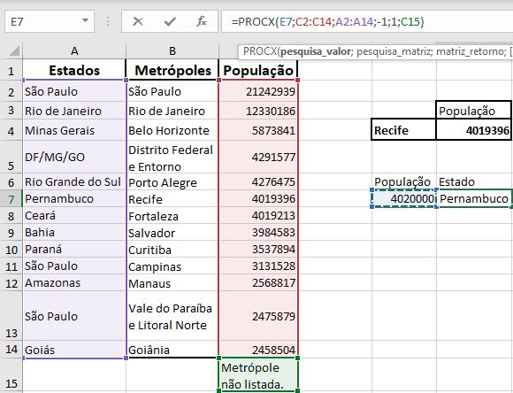 Exemplo de uso da função procx Microsoft Excel Office 365