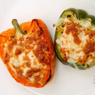 Brown Rice Stuffed Bell Peppers (gluten-free, contains dairy).