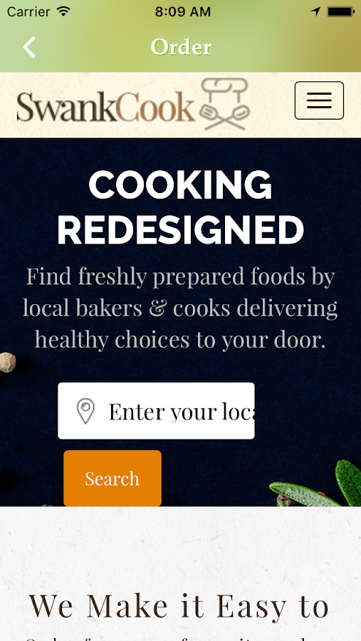 SwankCook Food Delivery/Share- screenshot