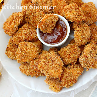 Oven Baked Masala Chicken Nuggets.