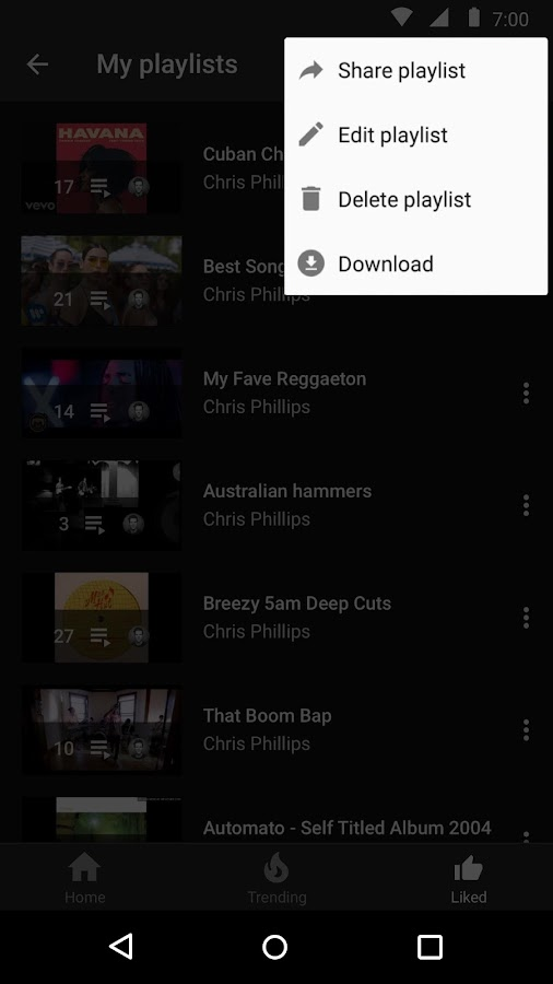 Screenshots of YouTube Music for iPhone
