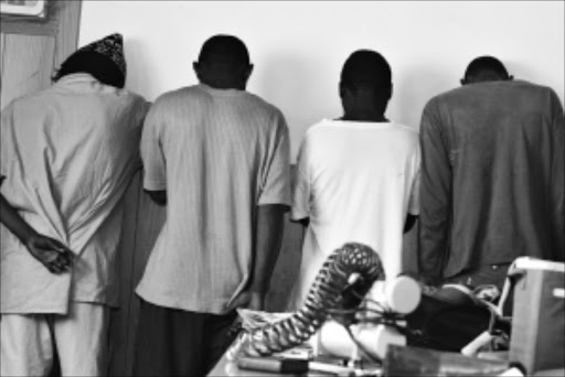 BAD MEN: These four men were arrested after breaking into a house in Boksburg and gang-raping a woman before stealing household appliances. They also tried to cut her throat. Pic: BAFANA MAHLANGU. 11/02/2010. © Sowetan.
