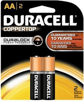 Duracell AA Power Check Copper Top Alkaline Battery - 2 Pack
