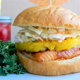 Teriyaki Salmon Sandwich with Grilled Pineapple